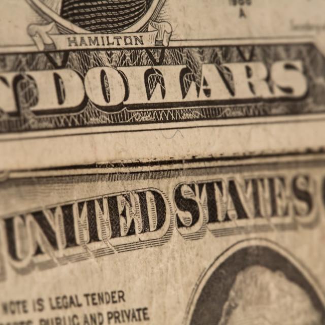 """""""US dollars background, reto style toned photo with shallow DOF"""" stock image"""