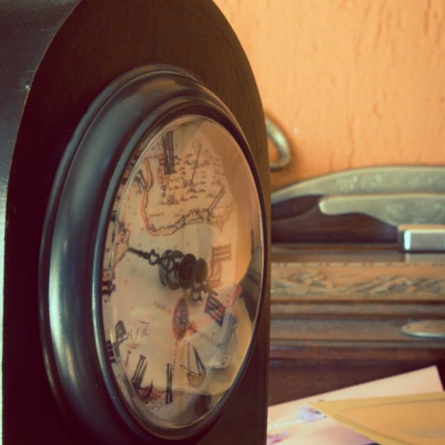 """Antique clock artistic toned"" stock image"