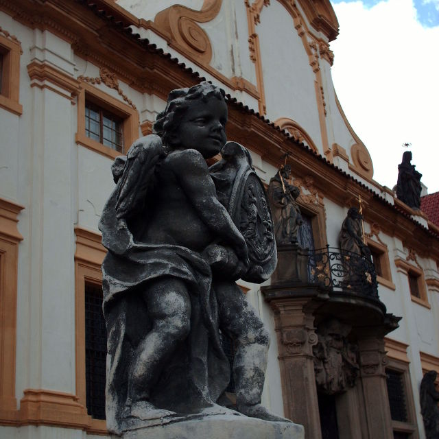 """Statue outside the Loreta, Prague"" stock image"
