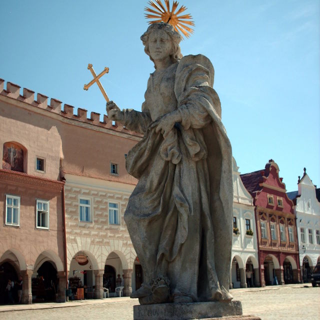 """Telc statue and town square"" stock image"