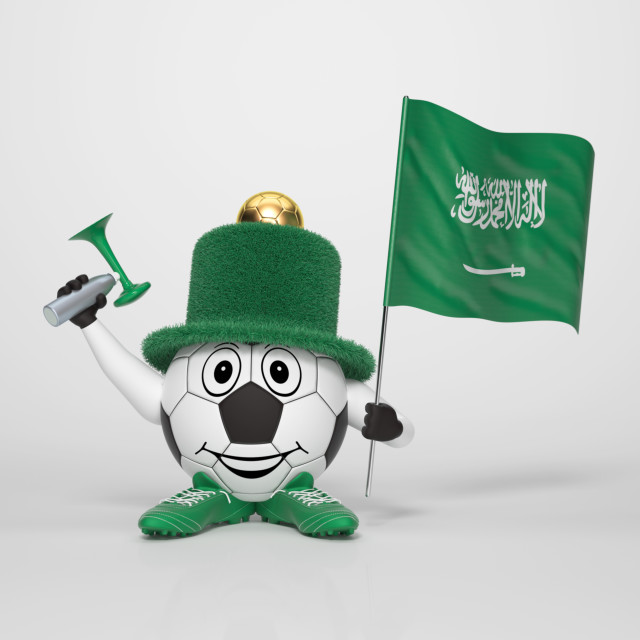"""Soccer character fan supporting Saudi Arabia"" stock image"