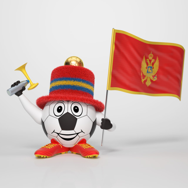 """Soccer character fan supporting Montenegro"" stock image"