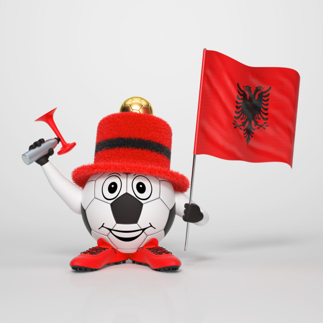 """Soccer character fan supporting Albania"" stock image"