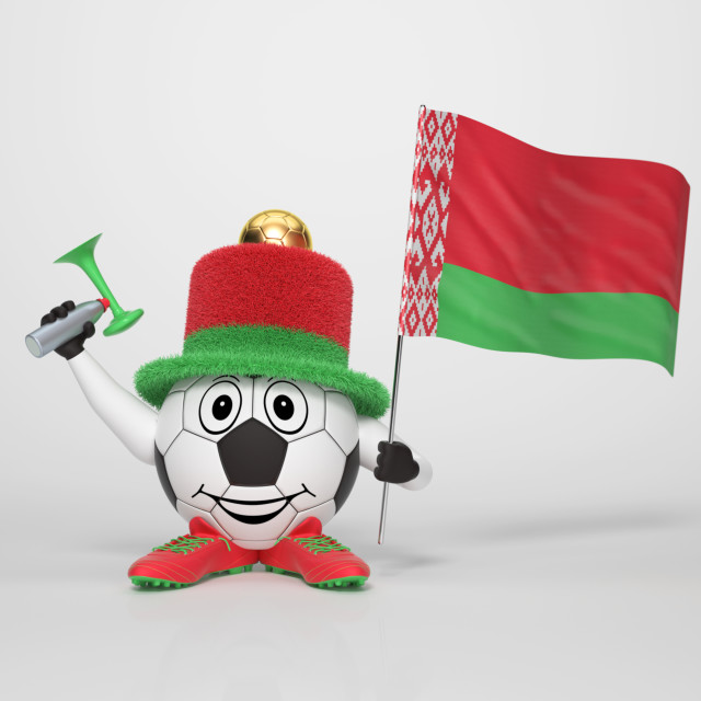 """Soccer character fan supporting Belarus"" stock image"