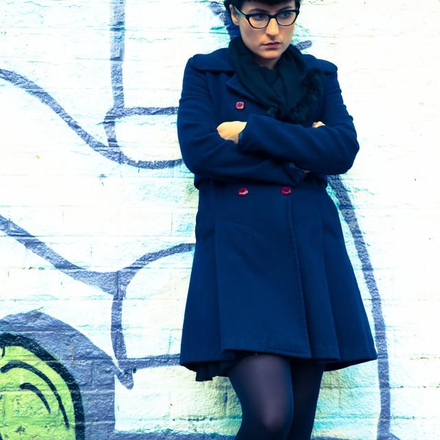 """""""Retro Girl in a urban environment"""" stock image"""