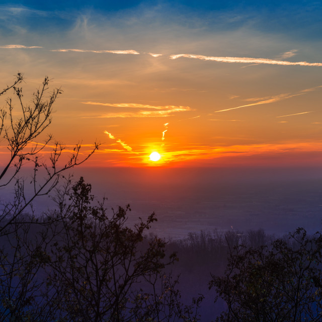 """""""Sunset time over the town"""" stock image"""