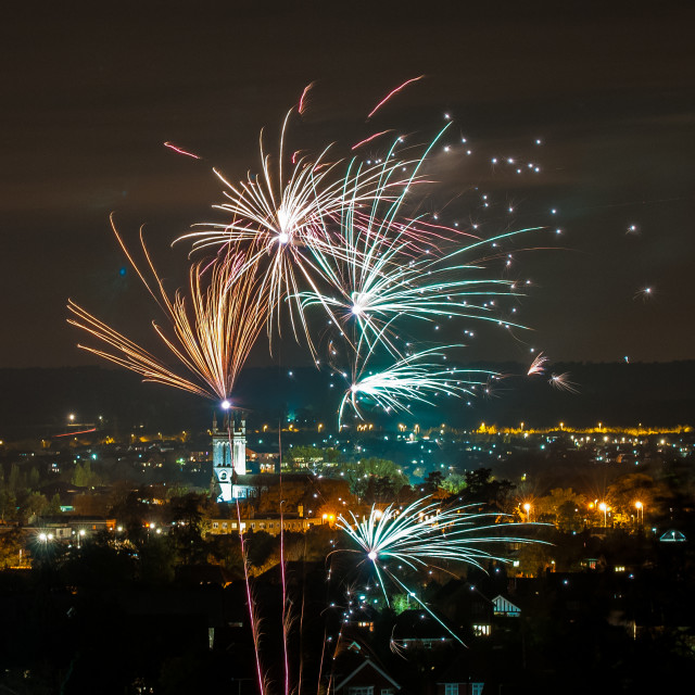 """Bon Fire night over Andover"" stock image"