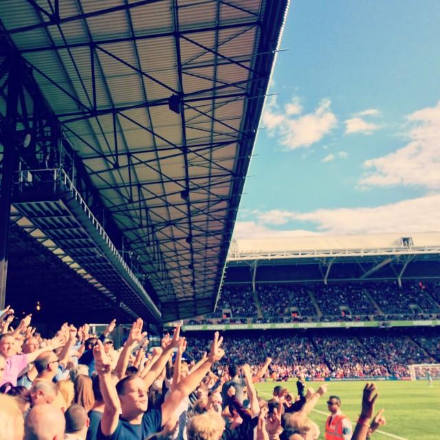 """West Ham fans at Selhurst Park"" stock image"