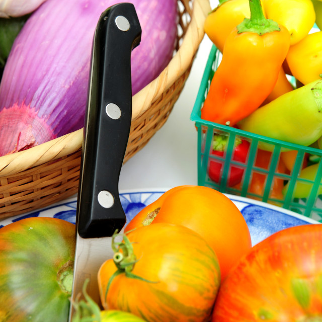 """Heirloom Tomatoes And Vegetables"" stock image"