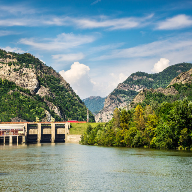 """Olt River in Carpathian Mountains, Romania"" stock image"
