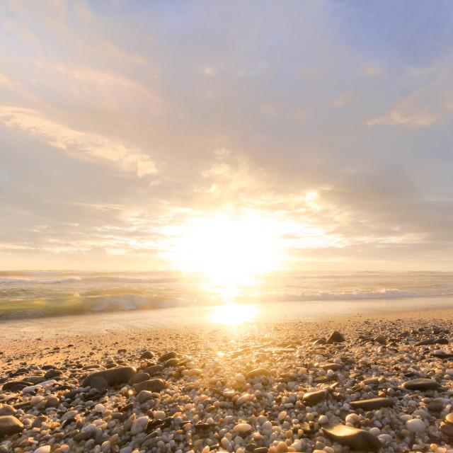 """Beach Sunset at Sunset Beach, Cape Town"" stock image"