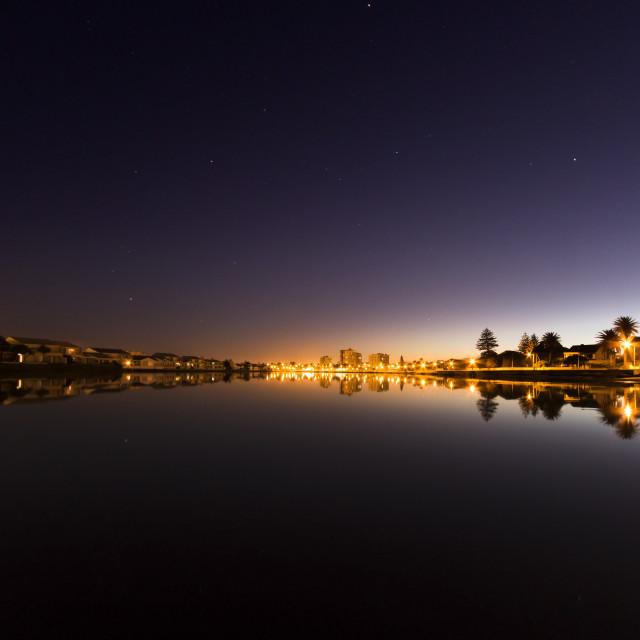 """""""Mirror Calm Lagoon Beach Dawn, Cape Town"""" stock image"""