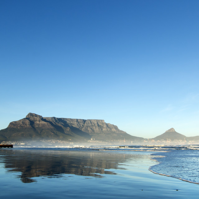 """Clear Sunrise over Table Mountain, Cape Town"" stock image"