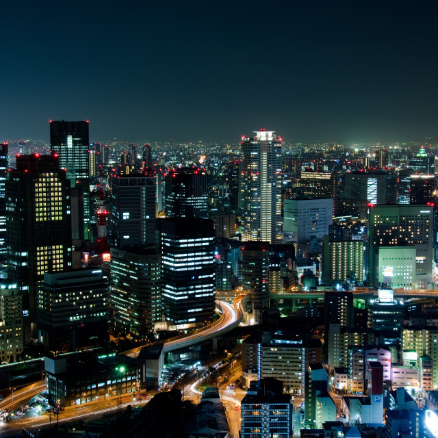 """Osaka Skyline at night"" stock image"