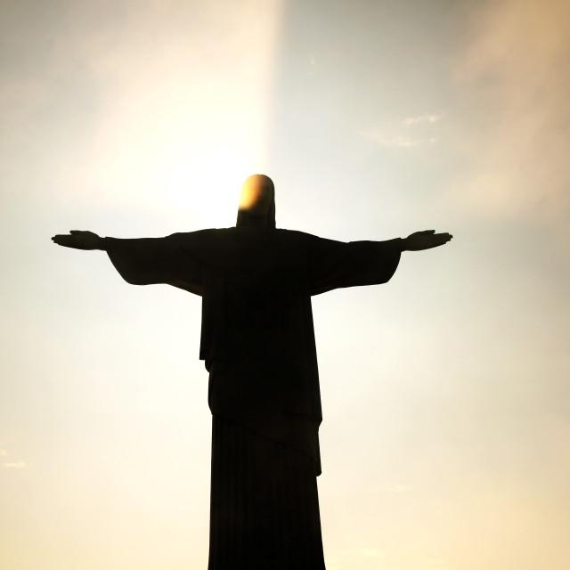 """Nightfall over Cristo Redentor"" stock image"