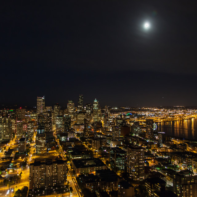 """""""Seattle by Night"""" stock image"""