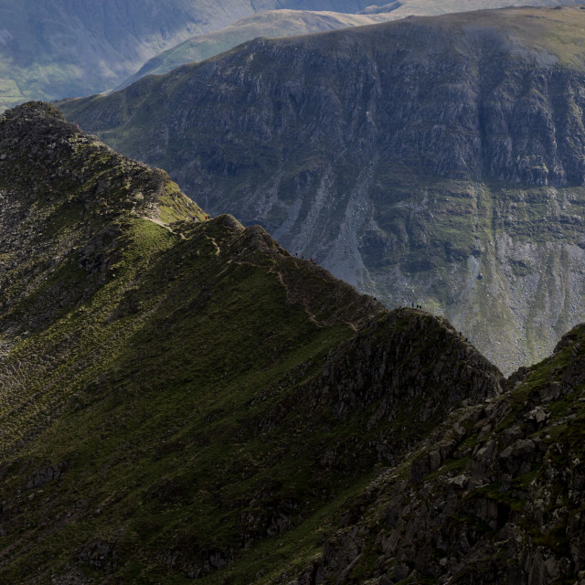 """Walkers on Striding Edge"" stock image"