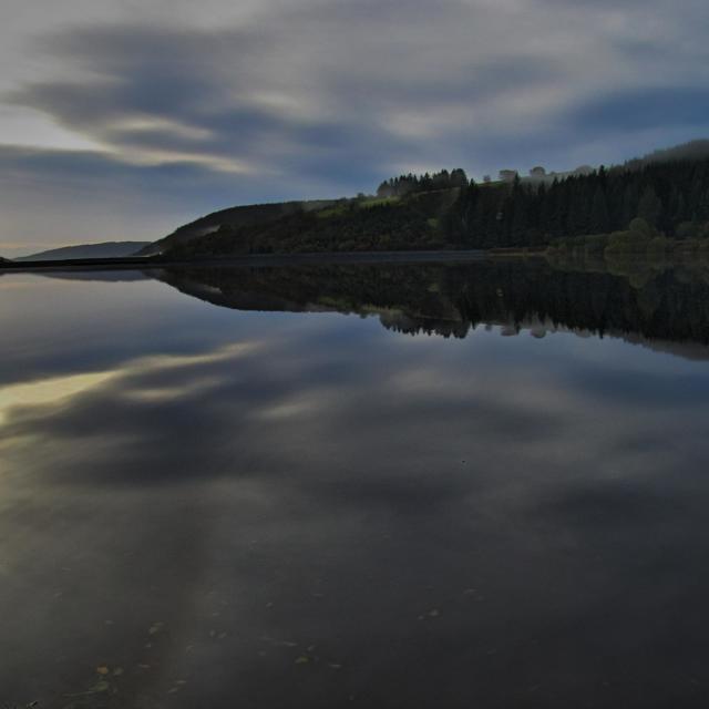 """Reflections at Llwyn onn"" stock image"