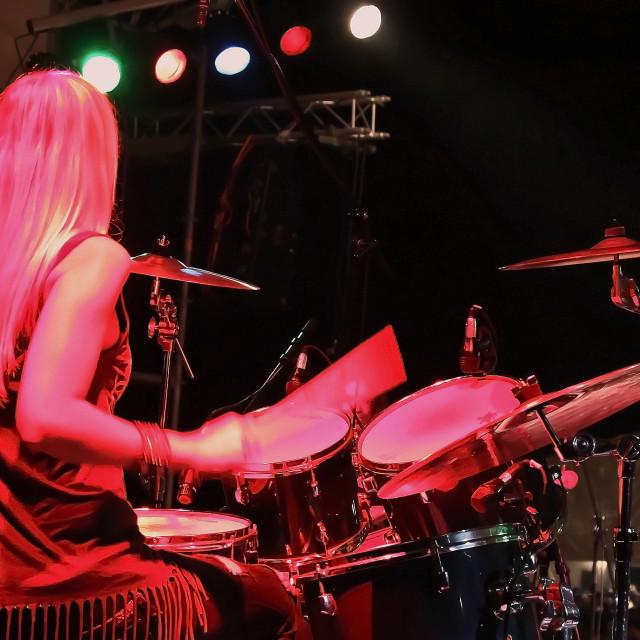"""""""Drummer girl"""" stock image"""