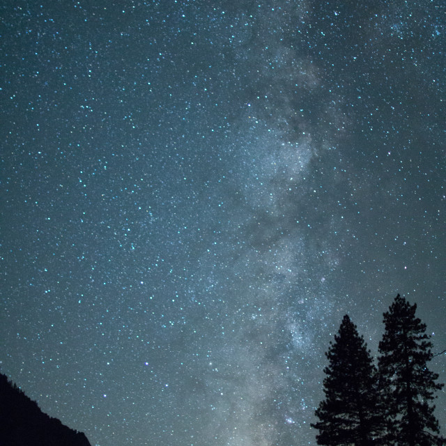 """Milky Way Galaxy from the Yosemite Valley."" stock image"
