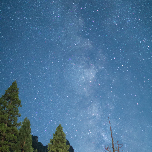 """""""Milky Way Galaxy from the Yosemite Valley."""" stock image"""