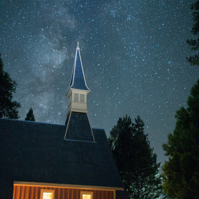 """Milky Way Galaxy graces the church in Yosemite Valley."" stock image"