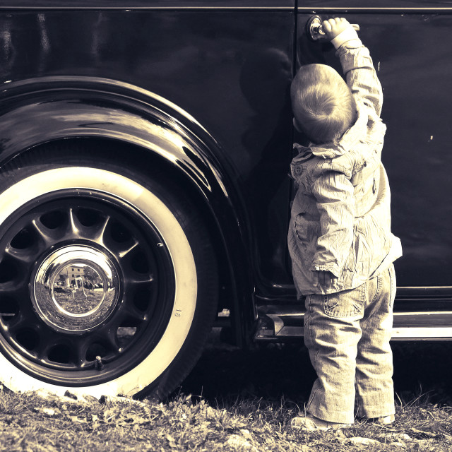 """Child and car"" stock image"