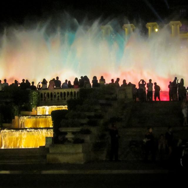 """Colourful fountain, Barcelona"" stock image"