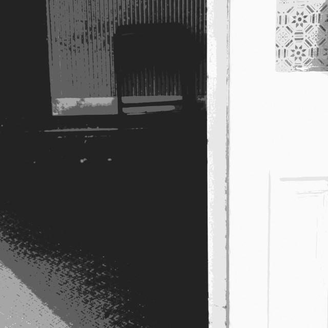 """Through an old pub door"" stock image"
