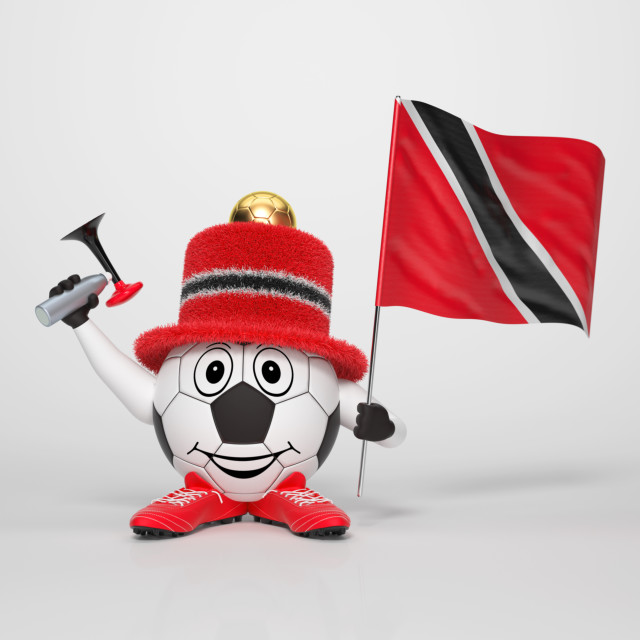 """Soccer character fan supporting Trinidad and Tobago"" stock image"