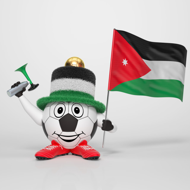 """Soccer character fan supporting Jordan"" stock image"