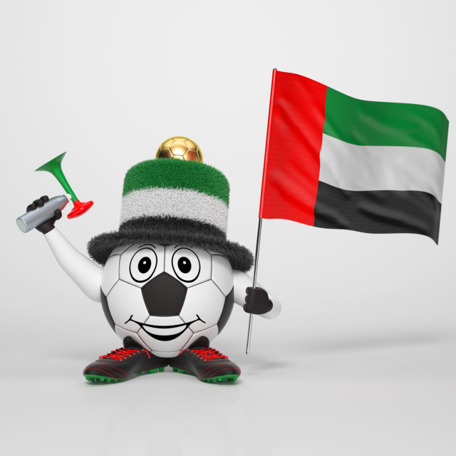 """Soccer character fan supporting United Arab Emirates"" stock image"