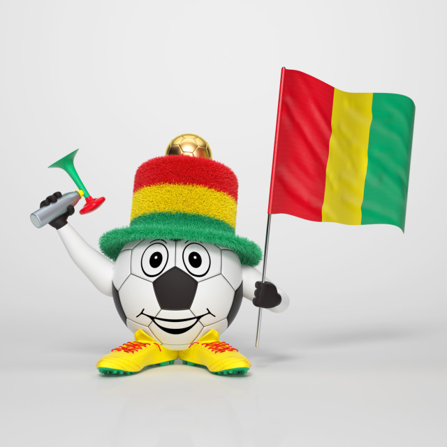 """Soccer character fan supporting Guinea"" stock image"