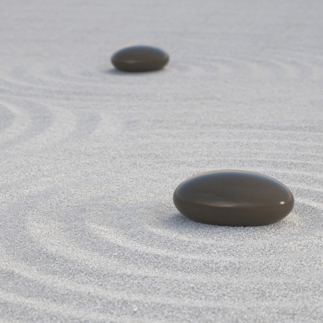 """Dark Zen stones on white sand"" stock image"