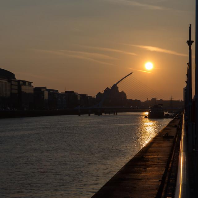 """The Samuel Beckett Bridge"" stock image"