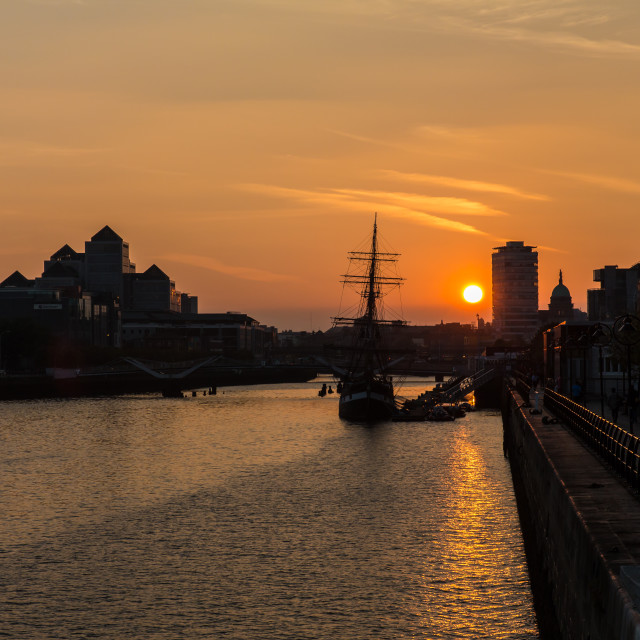 """Sunset over the River Liffey"" stock image"