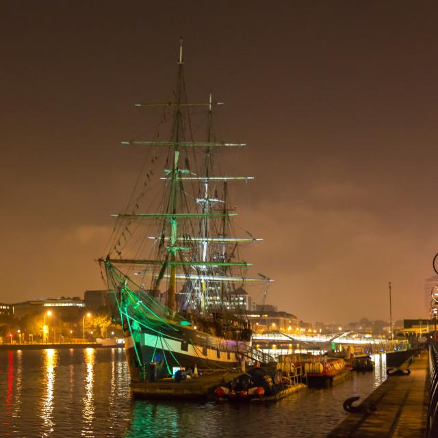 """The Tall Ship, River Liffey"" stock image"