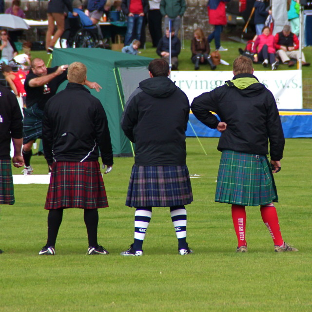 """""""Kilts in a row"""" stock image"""