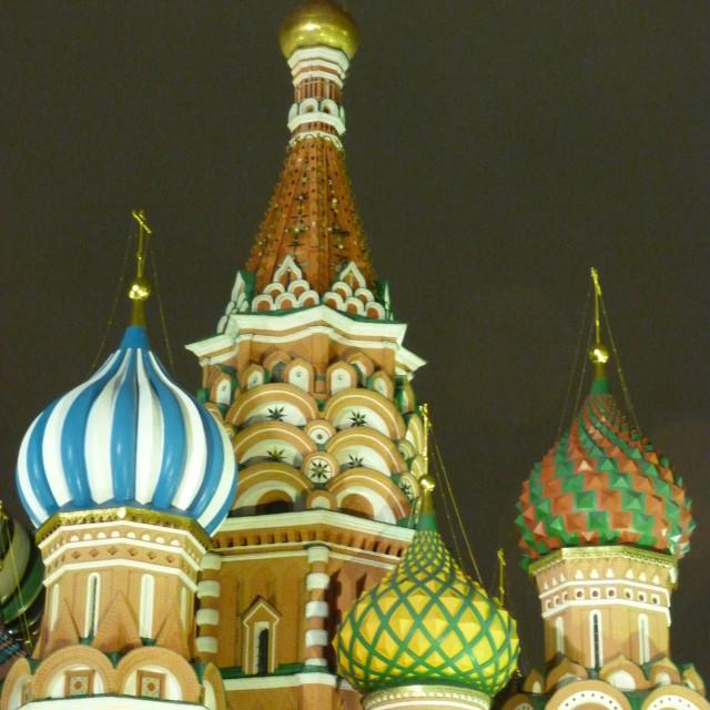 """""""St Basils domes at night"""" stock image"""