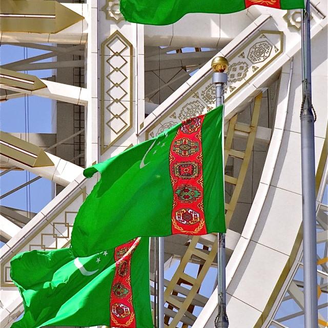 """Flags in Turkmenistan"" stock image"