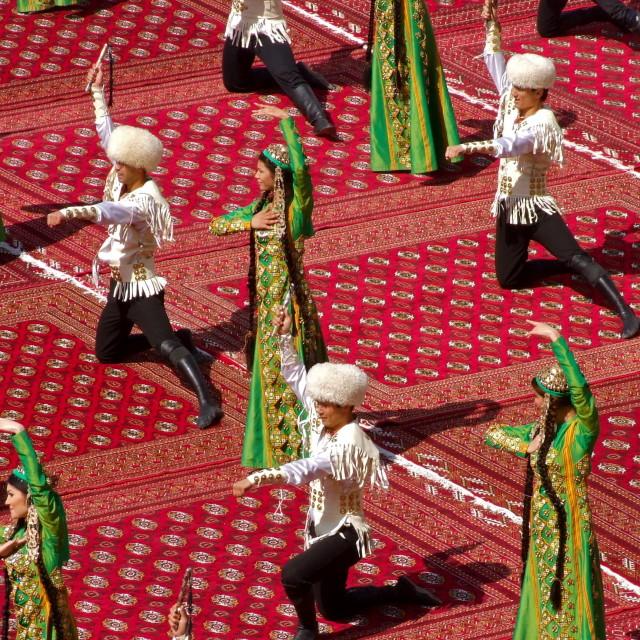 """Dancers on Turkmen carpets"" stock image"