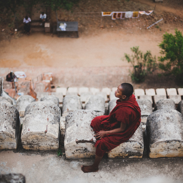 """""""Monk from Above"""" stock image"""