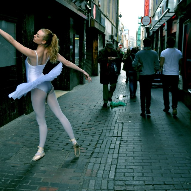 """9. Street Ballerina - Soho, London"" stock image"