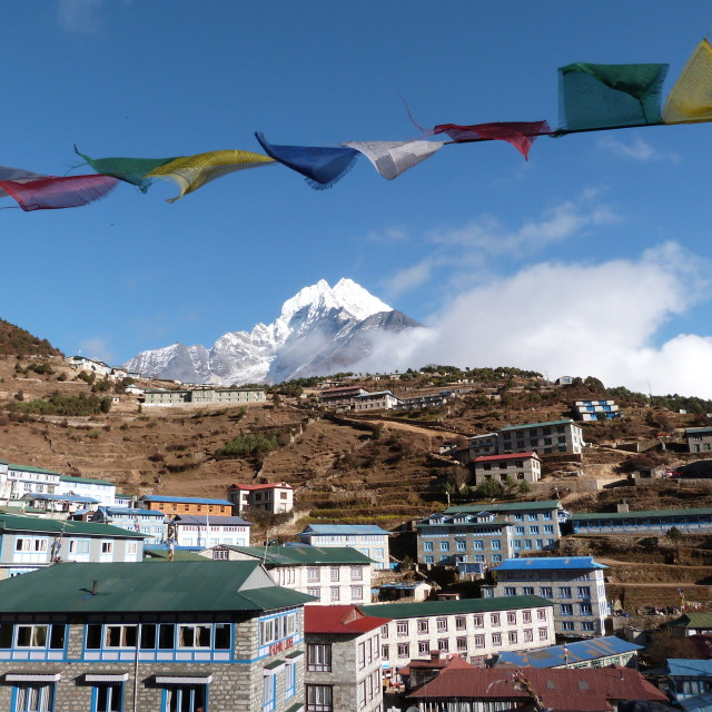 """Namche Bazaar & Prayer Flags"" stock image"
