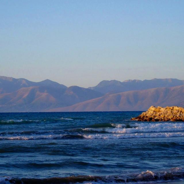 """Albania, from Corfu"" stock image"