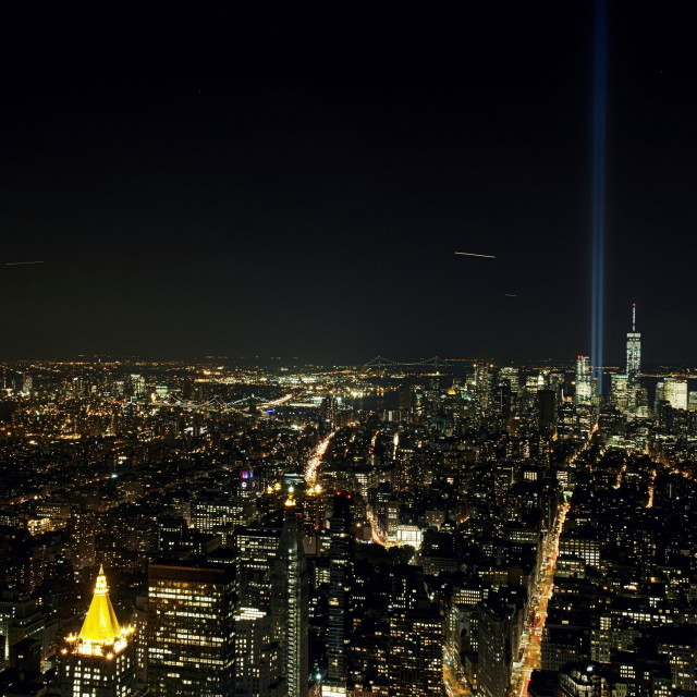 """Tribute in Light, Empire State Building"" stock image"