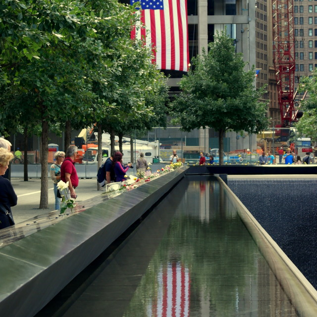 """9/11 Memorial Reflecting Pool"" stock image"