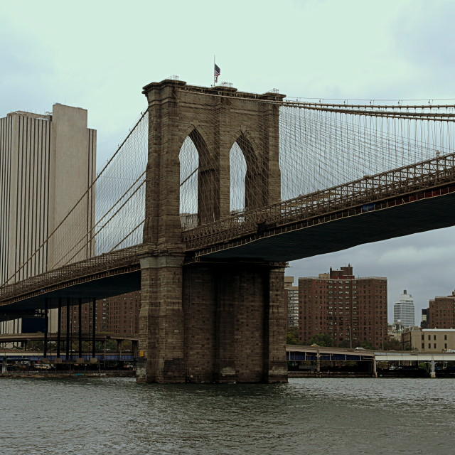 """Brooklyn Bridge, 9/11 2014"" stock image"