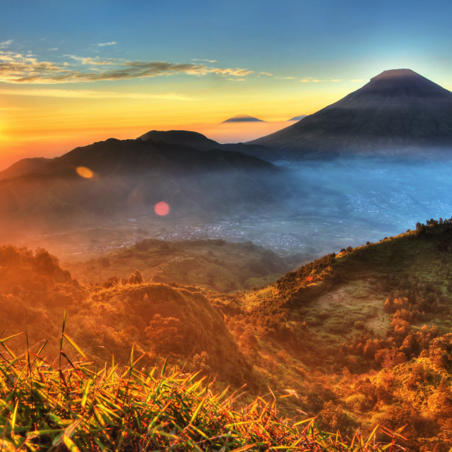 """Sunrise from Sikunir"" stock image"