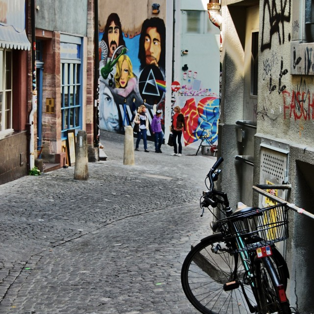 """Bike in Old Basel and Urban Art"" stock image"